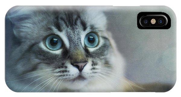 Proud iPhone Case - Blue Eyed Queen by Priska Wettstein