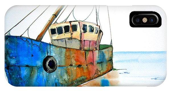 Blue Fishing Boat Phone Case by Maya Simonson
