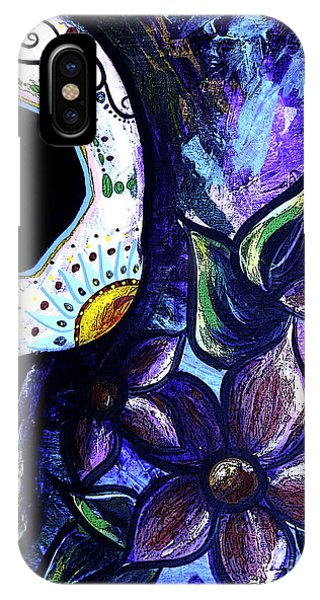 Midnite iPhone Case - Blue Flower Skull by Lovejoy Creations