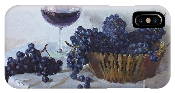 Grape iPhone X Case - Blue Grapes And Wine by Ylli Haruni
