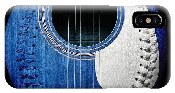 Blue Guitar Baseball White Laces Square IPhone Case