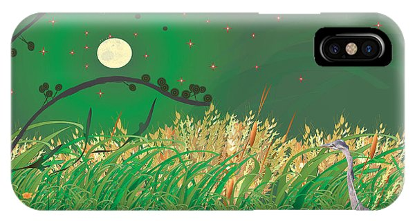 Blue Heron Grasses IPhone Case