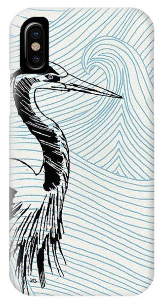 Blue Heron On Waves IPhone Case