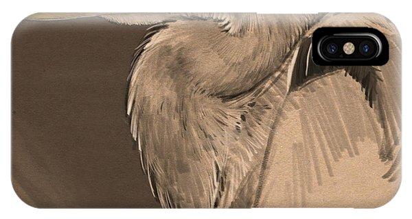 Heron iPhone Case - Blue Heron Sketch by Aaron Blaise