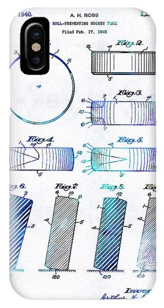 Blue Hockey Art - Hockey Puck Patent - Sharon Cummings IPhone Case