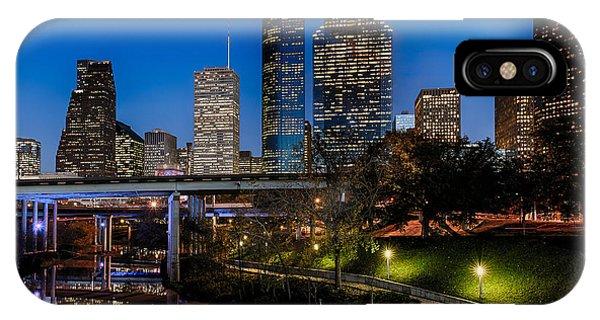Blue Hour On Buffalo Bayou Phone Case by Dee Zunker