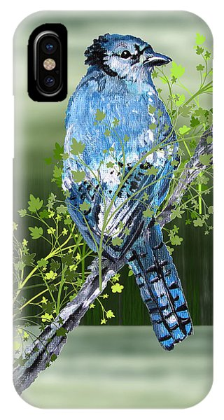 Blue Jay Mixed Media IPhone Case