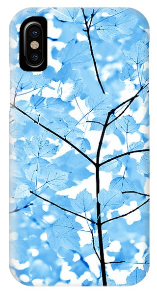 Monochrome iPhone Case - Blue Leaves Melody by Jennie Marie Schell