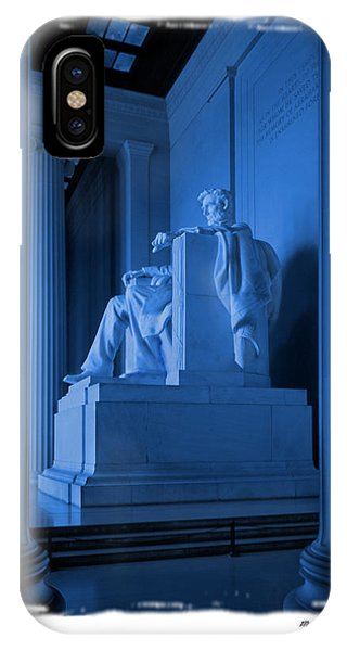 Lincoln Memorial iPhone Case - Blue Lincoln by Mike McGlothlen