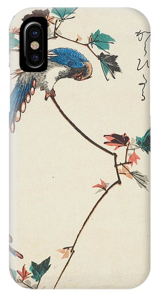 Impressionistic iPhone Case - Blue Magpie On Maple Branch by Utagawa Hiroshige