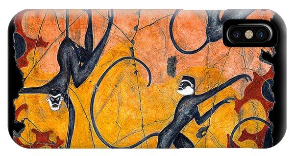 Bogdanoff iPhone Case - Blue Monkeys No. 9 by Steve Bogdanoff