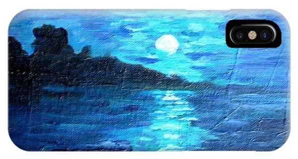 blue moon over lake couer da  lane Idaho IPhone Case