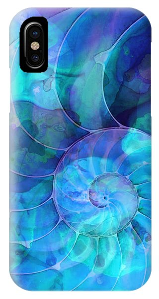 Aqua iPhone Case - Blue Nautilus Shell By Sharon Cummings by Sharon Cummings