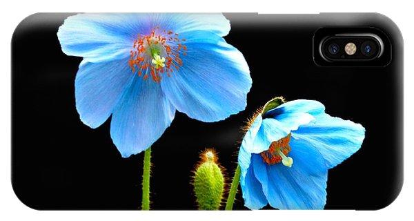 Blue Poppy Flowers # 4 IPhone Case
