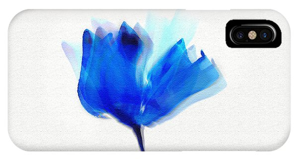Blue Poppy Silouette Mixed Media  IPhone Case