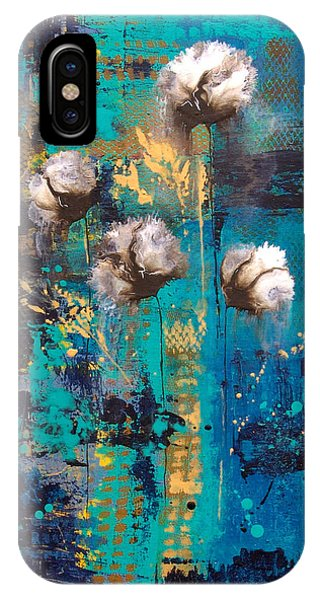 iPhone Case - Blue Rain Abstract Flower by Catherine Jeltes