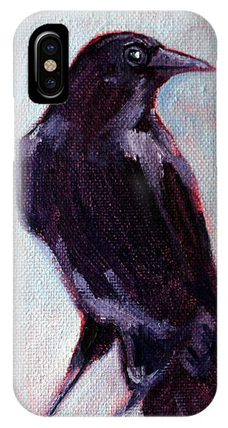 Cunning iPhone X Case - Blue Raven by Nancy Merkle