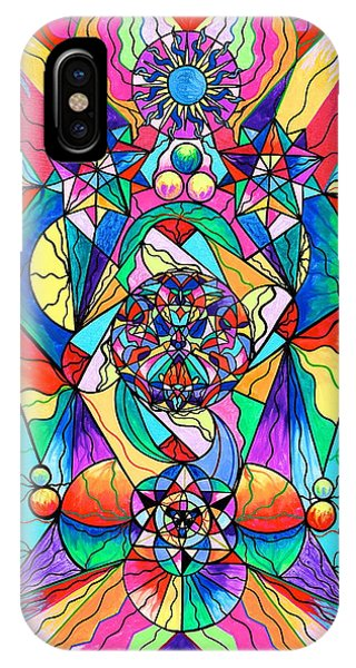 Spirituality iPhone Case - Blue Ray Transcendence Grid by Teal Eye Print Store