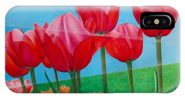 Blue Ray Tulips IPhone Case