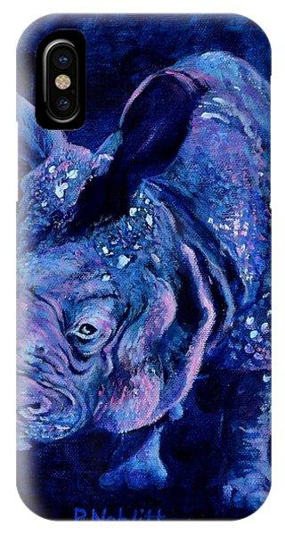 Rhinocerus iPhone Case - Indian Rhino - Blue by Paula Noblitt