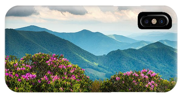 Blue Ridge Appalachian Mountain Peaks And Spring Rhododendron Flowers IPhone Case