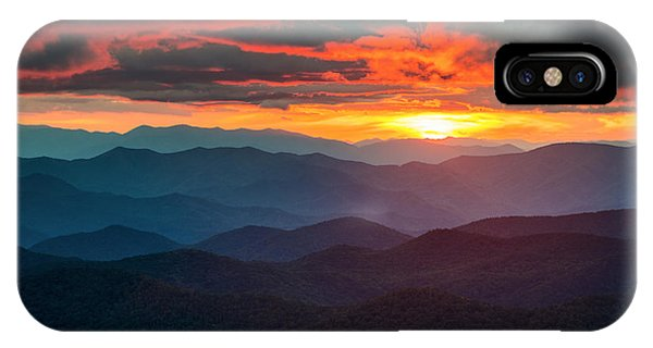 Blue Ridge Mountains Sunset From Southern Blue Ridge Parkway IPhone Case