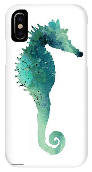 Seahorse iPhone Case - Blue Sea Horse Art Print Painting  by Joanna Szmerdt
