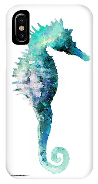 Seahorse iPhone Case - Blue Seahorse Watercolor Art Print Painting by Joanna Szmerdt