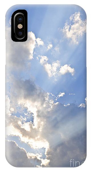 Cloud iPhone Case - Blue Sky With Sun Rays by Elena Elisseeva