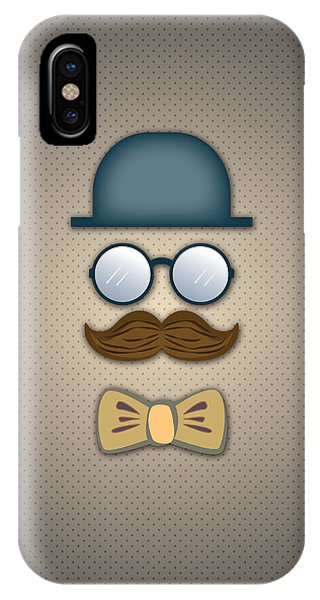 Blue Top Hat Moustache Glasses And Bow Tie IPhone Case