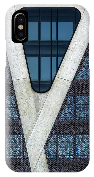 Facade iPhone Case - Blue Triangle by Jef Van Den