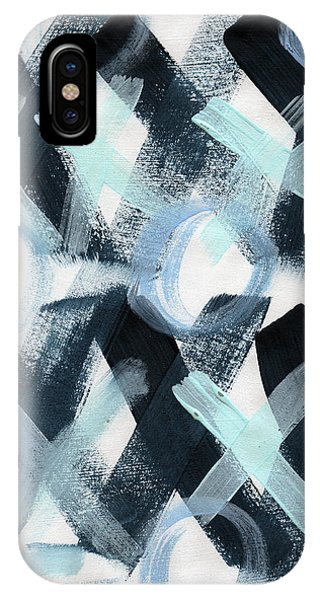 Valentines Day iPhone X Case - Blue Valentine- Abstract Painting by Linda Woods