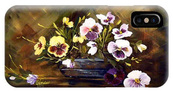 Blue Vase With Pansies IPhone Case