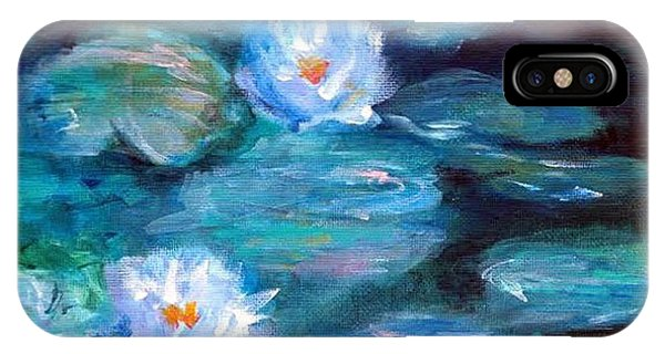 IPhone Case featuring the painting Blue Water Lilies by Lauren Heller