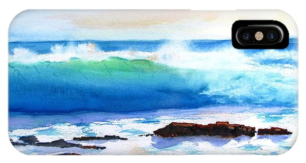 Blue Water Wave Crashing On Rocks IPhone Case