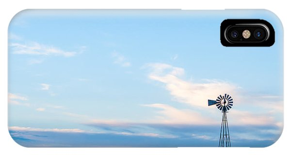Blue Windmill On The Plains IPhone Case