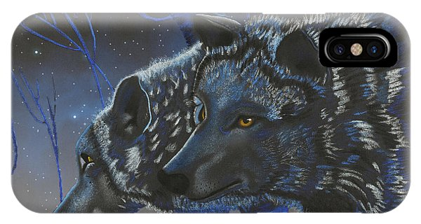 Blue Wolves With Stars IPhone Case
