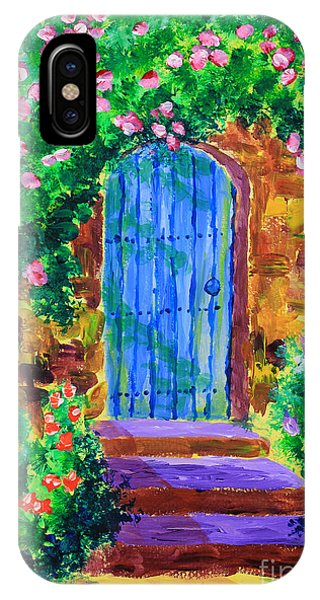 Blue Wooden Door To Secret Rose Garden IPhone Case
