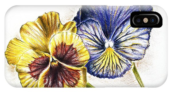 Blue Yellow Pansies IPhone Case
