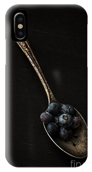 Blue Berry iPhone Case - Blueberries On Silver Spoon by Edward Fielding