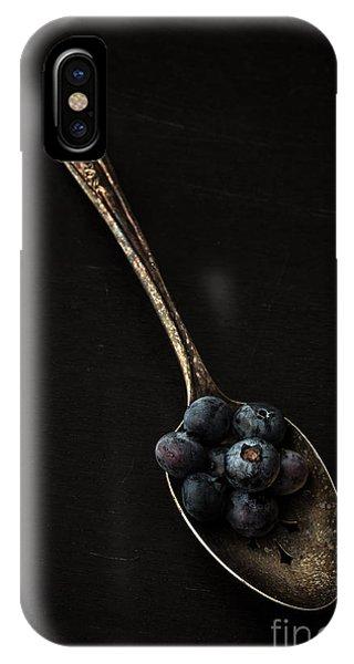 Blue Berry iPhone Case - Blueberries On Silver Spoon by Edward Fielding