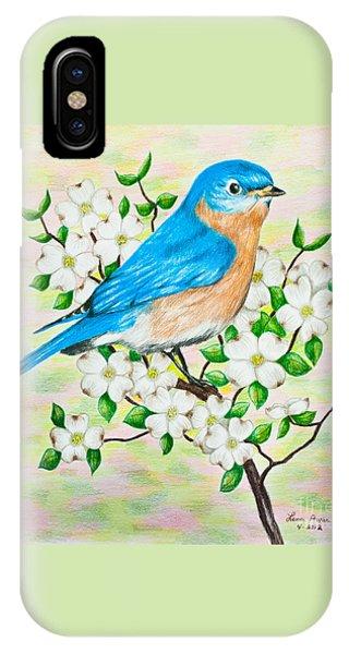 Bluebird And Dogwood IPhone Case