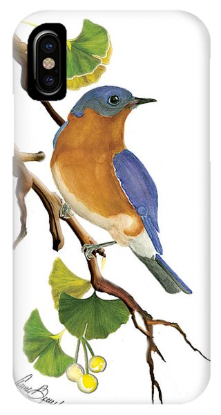 Bluebird In Ginkgo Tree IPhone Case