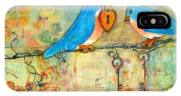 Bluebird iPhone Case - Bluebird Painting - Art Key To My Heart by Blenda Studio
