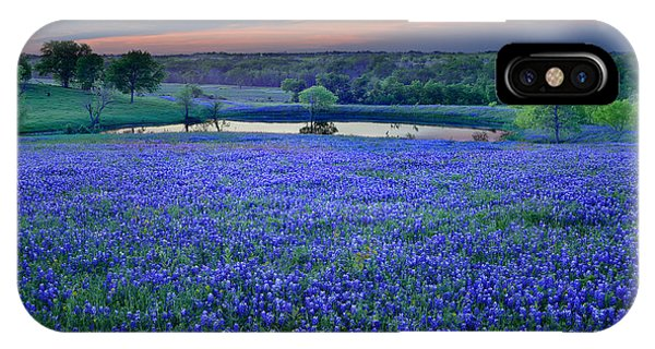Bluebonnet Lake Vista Texas Sunset - Wildflowers Landscape Flowers Pond IPhone Case