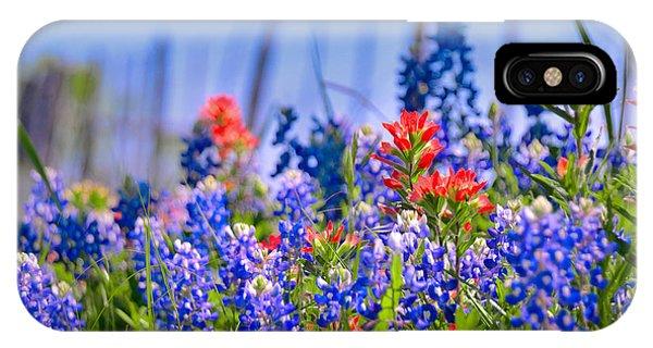 Bluebonnet Paintbrush Texas  - Wildflowers Landscape Flowers Fence  IPhone Case