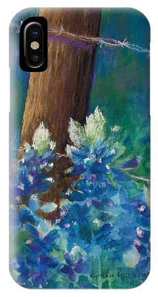 Bluebonnets At The Fencepost IPhone Case