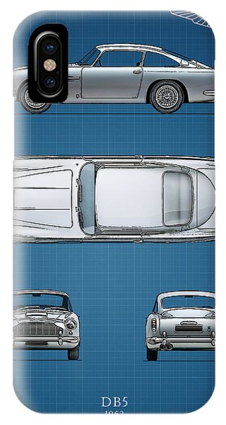 Martin iPhone Case - Blueprint Aston Martin Db5 by Mark Rogan