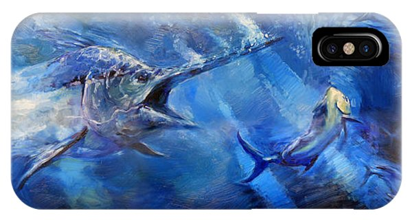 Swordfish iPhone Case - Blues by Tom Dauria