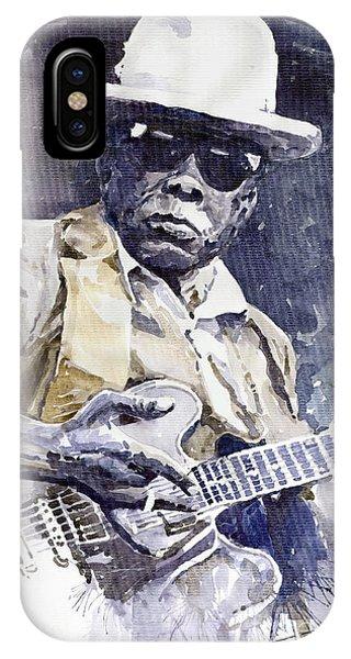 Portret iPhone Case - Bluesman John Lee Hooker 3 by Yuriy Shevchuk